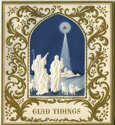 Vintage Christmas White Gold Scroll Work Design Embossed Nativity Greeting Card