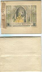 Antique Victorian Girl Church White Lily Easter Etching H/c Greeting Card Print