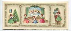 Mid Century Vintage Christmas Girls Angels Tree Trimming Ornaments Church Card