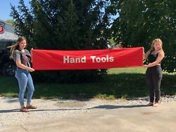 Original Vintage Hand Tools Auto Care 2 Sided Sign Banner Advertising Old Store