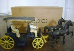 Vintage 1940's Stanley Toys Cast Iron Surrey Horses And Carriage With Riders And Box