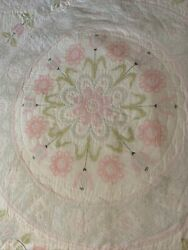 Vintage Machine Embroidered Quilt King Or Queen White Pink Flowers Bedspread