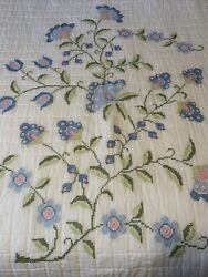Vintage Machine Embroidered Quilt King Or Queen White Pink Blue Flowers