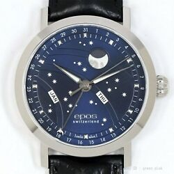 Epos Night Sky 3440 Automatic Blue Dial Moon Phase Big Moon Leather Mens