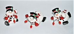 Fitz And Floyd Snowman Figurines Cheers Tumblers Christmas Ceramic Decor