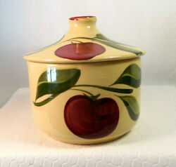 Rare Watt Pottery Apple Grease Jar With Cover 01