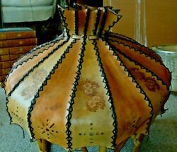 Vintage 22.5 Laced Leather Table Floor Lamp Shade Light Cabin Rustic Western