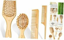 Bamboo Hair Brush Set, Eco-friendly Wooden Hair Brushes And Combs Set For All