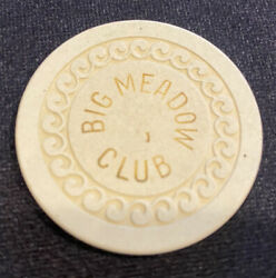 Big Meadow Club White Wave Mold Roulette Poker Casino Chip Lovelock Nevada