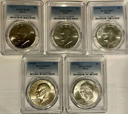 1971-s, 1972-s, 1973-s, 1974-s, 1976-s Eisenhower Silver Dollar Pcgs Ms65 - Ms68