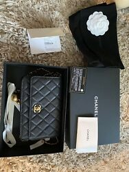 Chanel Classic Flap Quilted Mini Black Lambskin Leather Shoulder Bag $3250.00