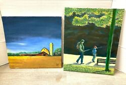 Lot Of 2 Contemporary Impressionism Oil Paintings Folk Art 12x12, 14x11 Signed