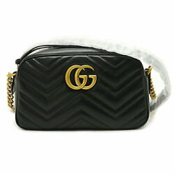 Gg Marmont Quilting Small Shoulder Bag 447632 Black Leather No.1448