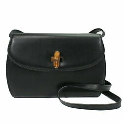 Shoulder Bag Bamboo Calf Black Gold Fittings Womenand039s Staples No.758