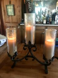 Vintage Handcrafted Church 3-candle 'hammered'wrought Iron Candelabra 15 In High