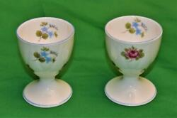 Vtg Shelley China England Rose Pansy Forget-me-not 13424 Set Of 2 Egg Cups
