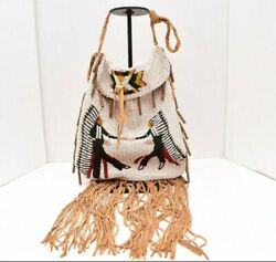 Rare Large Vintage Sioux Fully Beaded Pictorial Bag Native American Pouch White