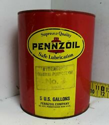 Vintage 5 Gallon Motor Oil Gas Can Pennzoil Hydraulics General Purpose Mancave