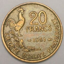 1951 France French 20 Francs Rooster Coin Vf+