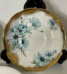 Royal Albert England Heavy Gold Blue Daisy Floral Saucer Only