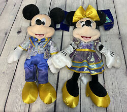 2021 Disney World Parks 50th Anniversary Mickey And Minnie Mouse Plush New In Hand