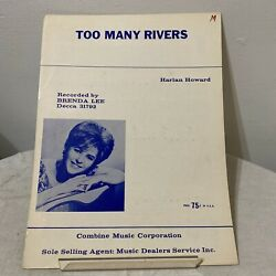 Vintage 1964 Too Many Rivers Sheet Music By Harlan Howard
