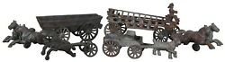 Antique Cast Iron Horse And Fire Wagon Express Cart Toy Unpainted 14