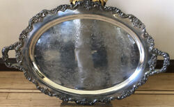 Exceptional Wilcox Art Nouveau Silver-plated Oval Hotel Service Tray W/ Handles