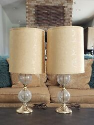 Antique 1950's Two-ball Crackled Glass/gold Table Lamps With Shades