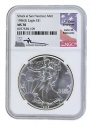 Ngc Ms70 1986-s American Eagle S1 Silver Dollar - Signed By John M. Mercanti