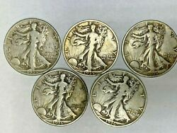 Walking Liberty Half Dollar - 1936 P,d,s And 1935 D,s - Lot Of 5 Coins