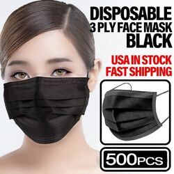500 Pcs Black 3-ply Disposable Face Mask Non Medical Earloop Mouth Nose Cover