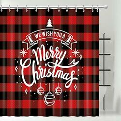 Merry Christmas Shower Curtain Set With 12 Hooks Printed Red Black Plaid 72x72''