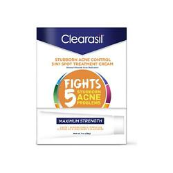 Clearasil Stubborn Acne Control 5 In 1 Spot Treatment Cream 1 Oz Pack Of 4