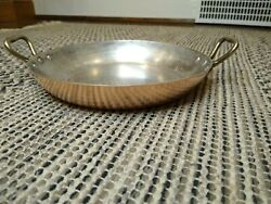 Vintage Made in France French Pan Tin Lined Copper brass Handles Au Gratin