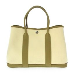 Auth Hermes Garden Party Tpm Cream Cardamom Tote Bag