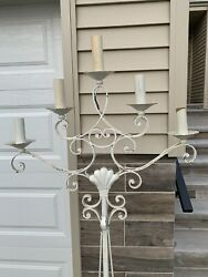 """Vintage Wrought Iron Floor Candelabra 68""""tall 2ft Wide .good Condition. Heavy."""