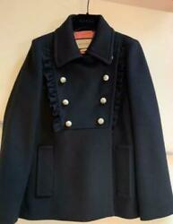 Pearl Button Jacket Coat Black Free Shipping No.9649
