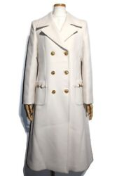 Outer Midi Double Coat Long 592185 Zhw03 Ladies 40 Ivory Wool No.1826