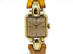 Rolex Used Square 14kyg Case Leather Hand-wound Women 's Wristwatch No.2308