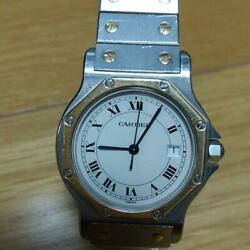 Santos Octagon Yg Combi Lm Size Watch Free Shipping No.7386