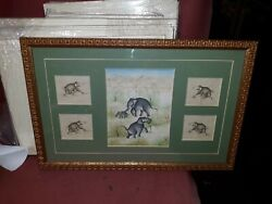 Old Or Antique Asian Indian Elephant Miniature Painting