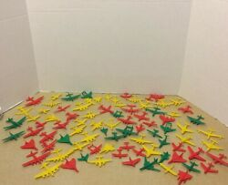 Vintage 1960's Mpc Plastic Toy Airplanes Red, Yellow And Green Lot Of 86