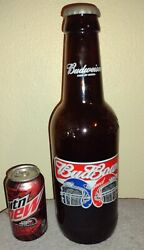 Large Giant Budweiser Bud Bowl 2002 Glass Beer Bottle Collectible 15