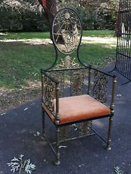 Fancy Brass And Iron Throne Arm Chair Victorian Oscar Bach Type