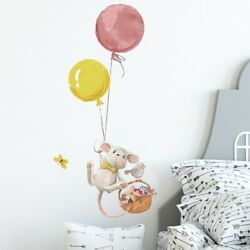 Cute Mouse Balloon Wall Stickers Kids Room Bedroom Home Living Room Mural Decals