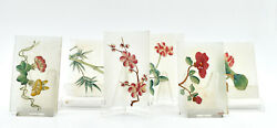 6 Small Plates Glass Painted Hand Pattern Flowers Japanese Japan