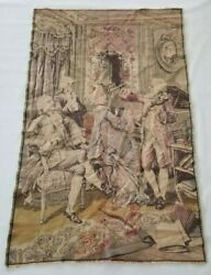 Vintage French Play Musical Instruments Scene Wall Hanging Tapestry 133x84cm