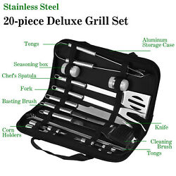 20 Pieces Stainless Steel Material Barbecue Tools Grill Set For Foodies For Food