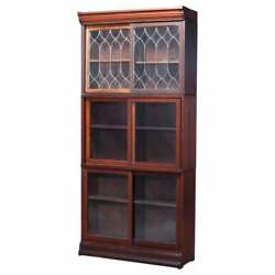 Antique Arts And Crafts Oak And Leaded Glass Sliding Door Barrister Bookcase, C1910